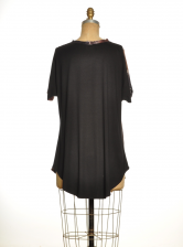 Easy Silk T Dress in Black & Red