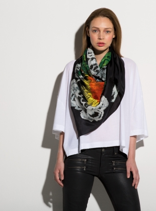 MIDNIGHT BIRDS- LUXE SILK SCARF by ED-LONDON