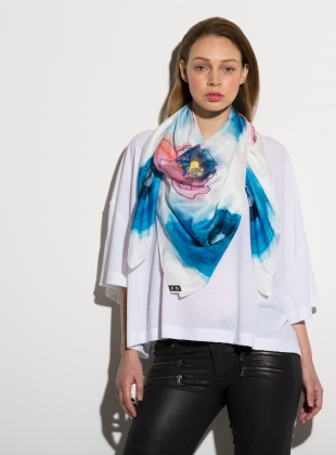MORNING GLORY- LUXE SILK SCARF by ED-LONDON