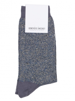 Young British Designers: Solline Metallic Cotton Silk Socks in Blue by Genevieve Sweeney