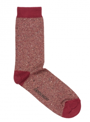 Solline Metallic Cotton Silk Socks in Red by Genevieve Sweeney