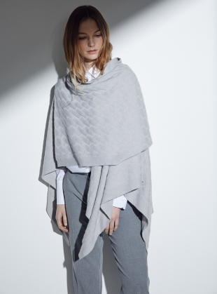 The Albion Geometric Cable Cashmere Wrap in Dove by Lou Dungate