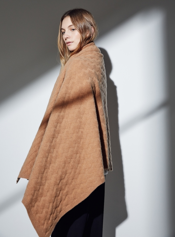 Young British Designers: The Esmond Geometric Cable Cashmere Blanket Scarf in Harmattan - last one by Lou Dungate