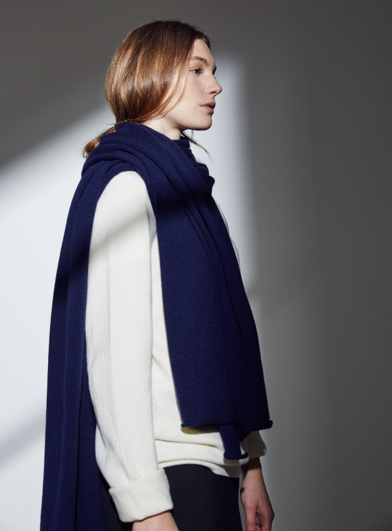 Young British Designers: The Mowbray Oversized Smooth Cashmere Scarf in Moonlight by Lou Dungate