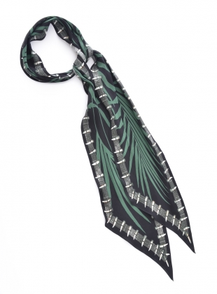 Young British Designers: CLASSIC SKINNY SCARF IN PALMS BLACK  by Rockins