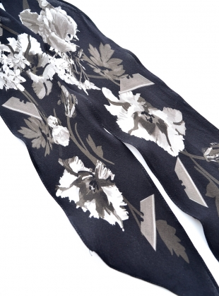 Young British Designers: SUPER SKINNY SCARF IN FLORA MONOCHROME - last one by Rockins