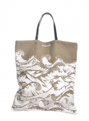 Linen Tote Bag with Hand-Printed Waves  by Simeon Farrar
