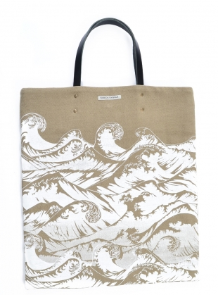 Linen Tote Bag with Hand-Printed Waves. Last One  by Simeon Farrar