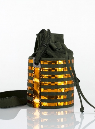 Young British Designers: TONG BUCKET BAG IN GREEN & COPPER - Last one by Carolina Wong