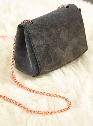Suede Micro Bag in Charcoal by Baia Bags