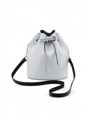 Small Drawstring Bucket Bag in Pale Grey by Baia Bags