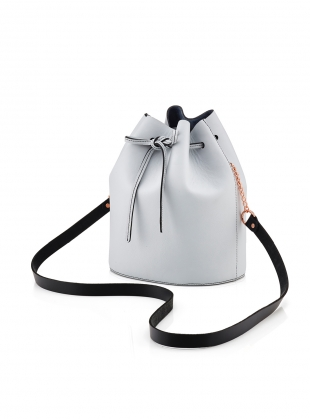 Young British Designers: Small Drawstring Bucket Bag in Pale Grey by Baia Bags