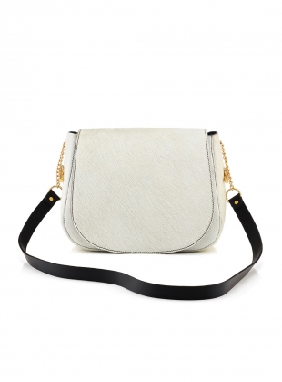 Midi Shoulder Bag in White Hair on Hide - last one by Baia Bags