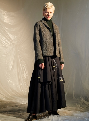 Young British Designers: Long Black Flounce Embroidered Skirt-last one by Renli Su