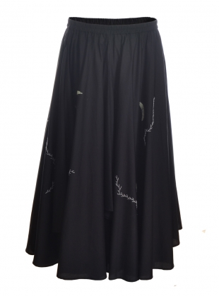 Long Black Flounce Embroidered Skirt-last one by Renli Su