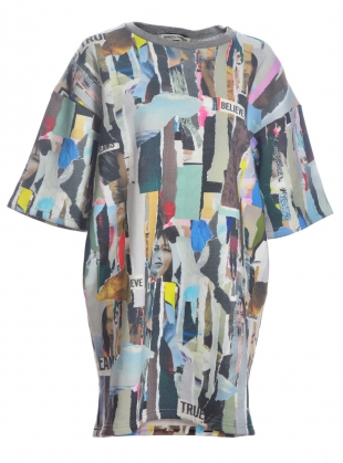 Paper Strips Sweatshirt Dress  by Simeon Farrar