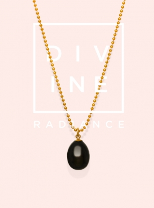 Young British Designers: Black Tear Drop Pearl Pendant  by Ora Pearls