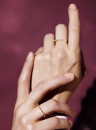Young British Designers: DIAMOND MINI INTERSECT RING - last one by Mei-Li Rose