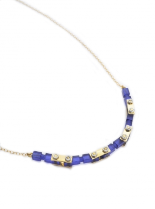 NAVY FROSTED GOLD MECHANIC NECKLACE by Lily Kamper