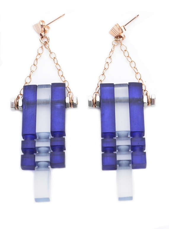 Young British Designers: MIDNIGHT BLUE FROST & ROSE MULTI EARRINGS - last pair by Lily Kamper