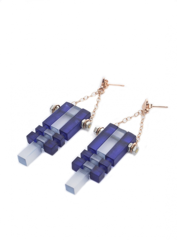 Young British Designers: MIDNIGHT BLUE FROST & ROSE MULTI EARRINGS by Lily Kamper