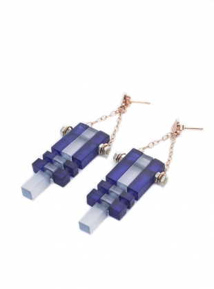 MIDNIGHT BLUE FROST & ROSE MULTI EARRINGS by Lily Kamper