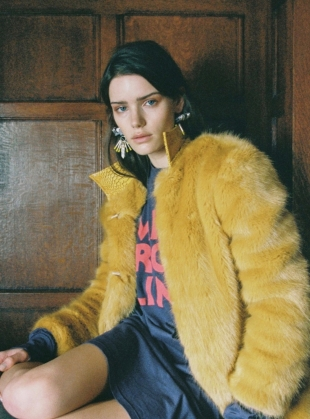 Young British Designers: EMBELLISHED YELLOW COLUMN EARRINGS - Last pair by Kirsty Ward