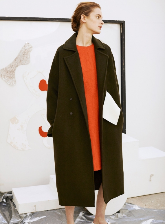 Young British Designers: Kate Signature Oversized Coat in Khaki - Sold out by REJINA PYO