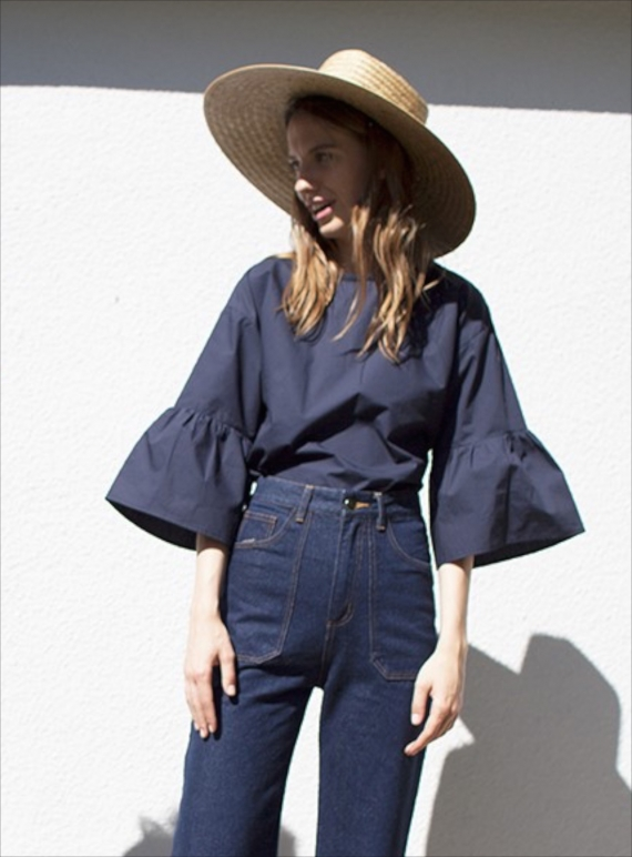 Young British Designers: WALTER TOP IN NAVY by LF Markey
