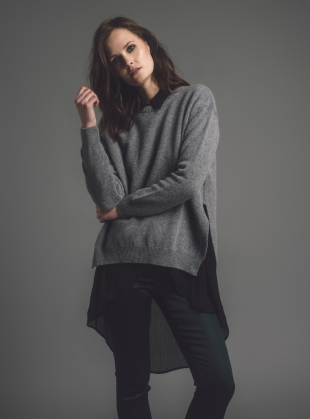 Rea Slouch Jumper with Side Splits in Grey Melange - Last one by Genevieve Sweeney