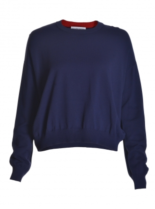 Celine Lightweight Boxy Jumper in Navy by Genevieve Sweeney