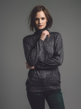 Young British Designers: Arisa Metallic Roll Neck Jumper in Moonlight - Last one by Genevieve Sweeney