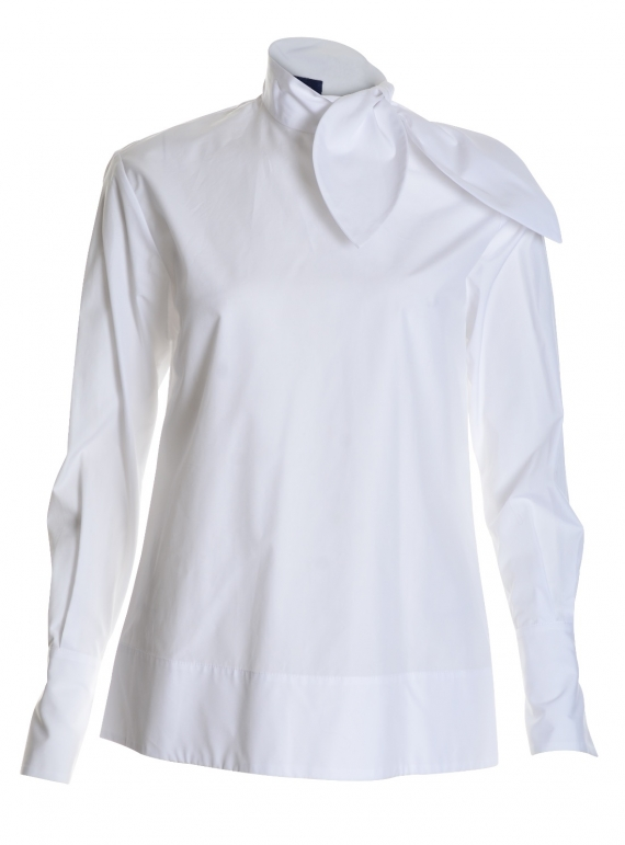 Young British Designers: SEGAL BOW SHIRT in White  by Eudon Choi