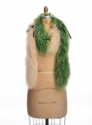 Young British Designers: JANE MONGOLIAN SHEEPSKIN RIBBON SCARF by Romy LDN