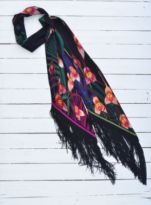 Classic Skinny Fringed Scarf in Monkey Orchid (Black) by Rockins