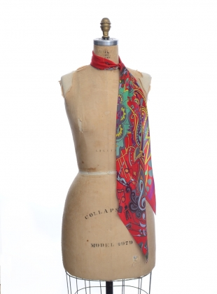 Young British Designers: Classic Skinny Scarf in MUSIC IS MEDICINE (red) by Rockins