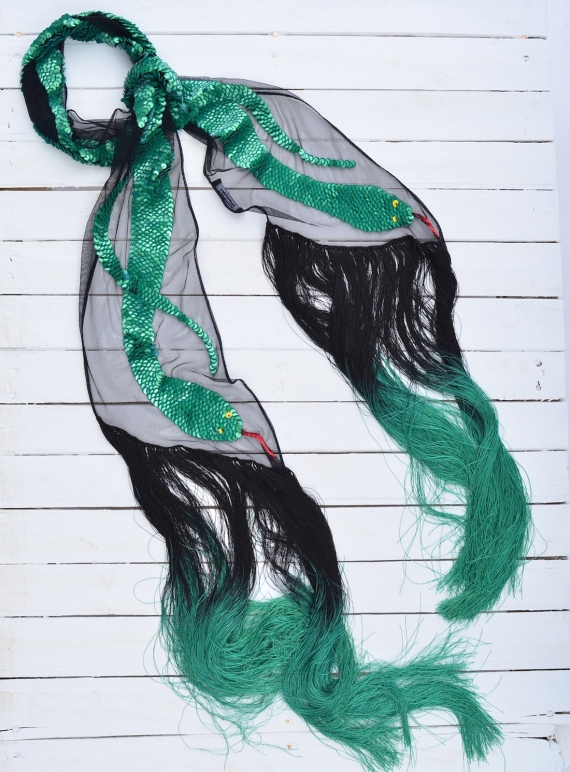 Young British Designers: SEQUINS SNAKE SCARF (Green) by Rockins