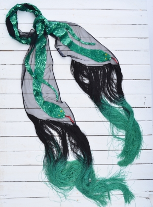 SEQUINS SNAKE SCARF (Green) by Rockins