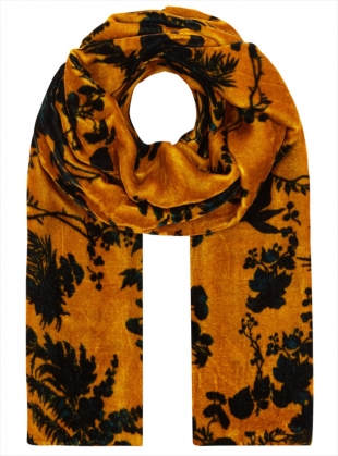 Long Velvet Scarf in Garden Puppet Design - last one by Klements