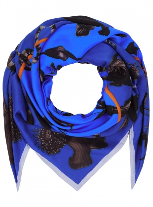 Young British Designers: Square Scarf in Rainbow Trout Print (blue) by Klements