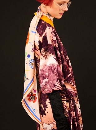 Young British Designers: LARGE SILK SCARF in Floral Explosion by Klements