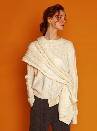 Contrast Cable Ivory Cashmere Mix Scarf by J.Won