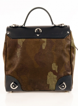 Young British Designers: Hillside Urban Backpack in Black Green Camouflage by Jam Love London