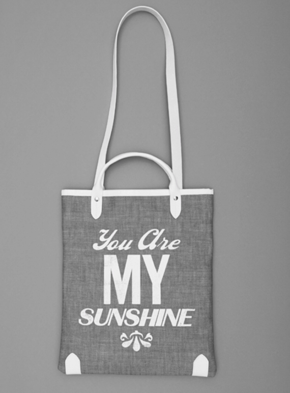 Sunshine Book Bag in Denim with White Type  by Jam Love London