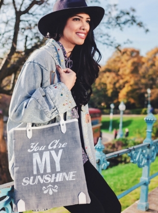 Young British Designers: Sunshine Book Bag in Denim with White Type  by Jam Love London