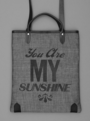 Sunshine Book Bag in Grey Denim with Black Type by Jam Love London