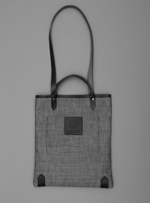 Young British Designers: Sunshine Book Bag in Grey Denim with Black Type by Jam Love London