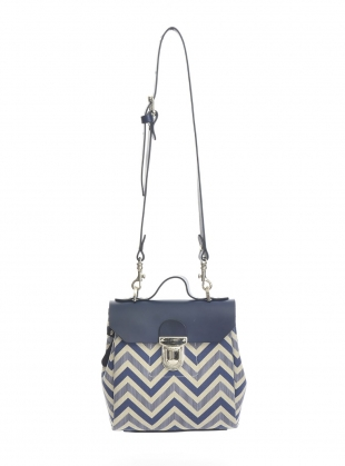 Hillmini Messenger Bag in Mid Blue Chevron by Jam Love London
