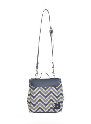 Young British Designers: Hillmini Messenger Bag in Mid Blue Chevron by Jam Love London