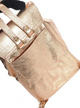 Young British Designers: VIRGO BACKPACK in Rose Gold Leather by Romy LDN